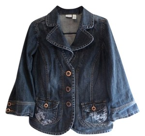 VENEZIA BY LANE BRYANT BLUE JEAN WITH DECORATIVE PRINT ON POCKETS Womens Jean Jacket