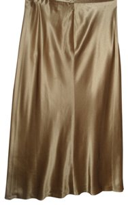 Ralph Lauren Shiny Metallic Satin Silk Skirt gold