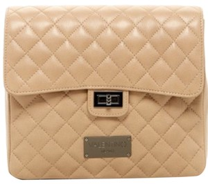 Valentino Quilted Backpack Leather Beige Cross Body Bag