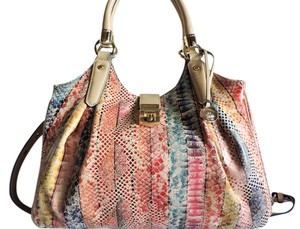 Brahmin Snake Print Leather Hobo Bag