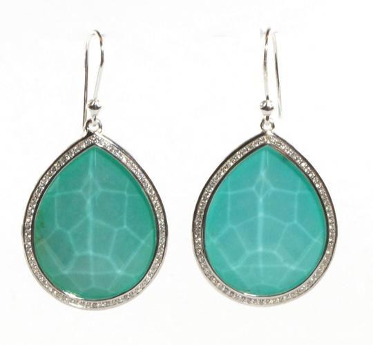 Ippolita IPPOLITA Turquoise Diamond Earrings Sterling Silver Stella Large Teardrop Drop