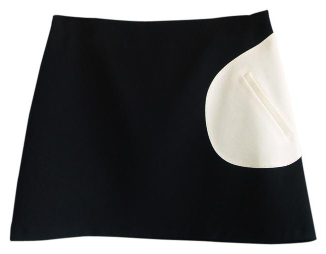 bebe Colorblock 60's Mini Skirt Black and off white