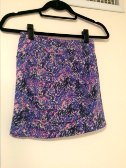 Free People Print Mini Skirt Purple Pink White Grey