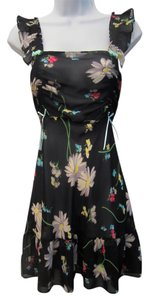 Betsey Johnson short dress Black Sheer Floral Chiffon Ruffle Ribbons on Tradesy