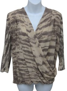 Saks Fifth Avenue Top Beige & Brown