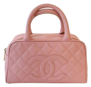 Chanel Timeless Caviar Bowler Satchel in Pink