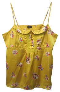 American Eagle Outfitters Mod Hipster Floral Silk Top Mustard