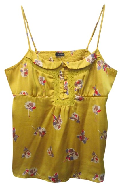American Eagle Outfitters Mod Hipster Floral Silk Strappy Bohemian Trendy Top Mustard