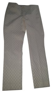 Banana Republic Unique Ankle Straight Checked Straight Pants Off white