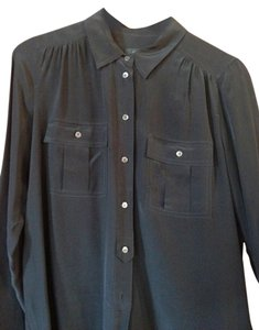J.Crew Silk Button Down Shirt Black
