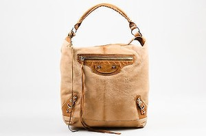 Balenciaga Tan Pony Hair Leather Trim Classic Day Hobo Bag