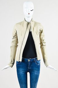 Rick Owens Leather Long Sleeve Round Collar Beige Jacket
