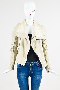 Rick Owens Leather Long Sleeve Draped Collar Beige Jacket