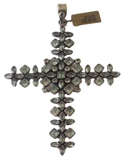 Other Designer Sterling Silver Cross With Topaz Big
