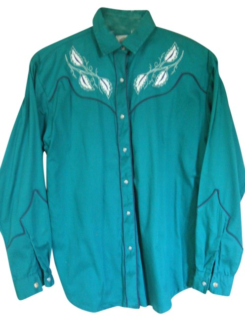 Mid-West Garment Co. Embroidered Top Green Western Shirt