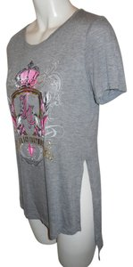 Juicy Couture Rhinestone T Shirt grey & pink