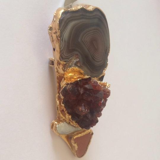 Other Sterling Silver Gold Gemstone Pendant/ Brooch