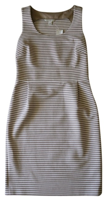 Item - White & Tan Sheath Structured Striped Sleeveless Spring Mid-length Work/Office Dress Size 6 (S)
