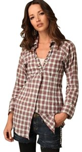 Free People Studded Button Down Shirt Flannel Plaid