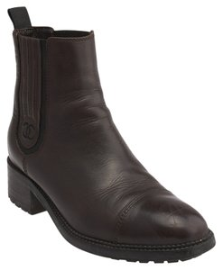 Chanel Chelsea Leather Ankle Brown Boots
