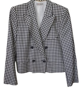 Escada Crop Germany Excellent Size 10 Button Down Shirt Black and white checkers
