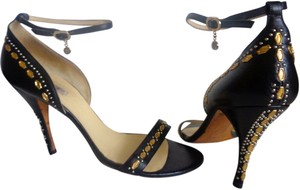 Versace Thin Ankle Strap Hardware Black, Gold Grommets, Silver Studs Sandals