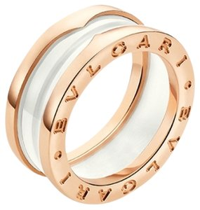 BVLGARI Bvlgari B.zero1 18K Rose Gold Ceramic 3 Band Ring AN855964 US 6.75