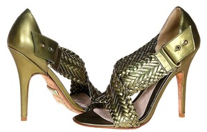L.A.M.B. Metallic Braided Leather Sandals