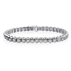 Avital & Co Jewelry 9.00 Carat G-vs2 Round Cut Diamond Half Bezel Tennis Bracelet 14k Wg