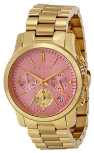 Michael Kors Pink Dial Gold tone Stainless Steel Designer ladies Casual Watch