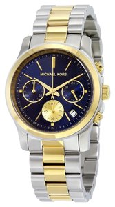 Michael Kors Navy Blue Dial Two Tone Silver and Gold Stainless Steel Designer watch