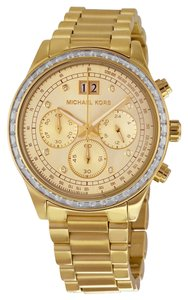 Michael Kors Gold tone Crystal Pave Bezel Stainless Steel Designer Ladies Luxury Watch