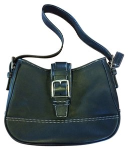 Coach Leather Buckle Flap Hobo Bag