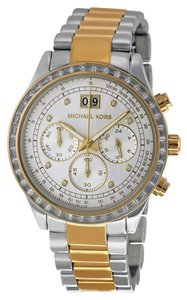 Michael Kors Two Tone Silver and Gold Tone Crystal Pave Bezel Stainless Steel Designer Luxury Watch