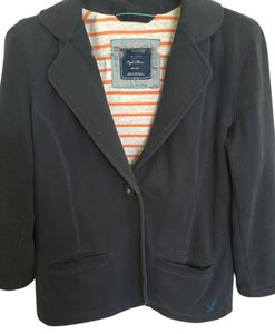 American Eagle Outfitters Fleece Navy Blue Blazer