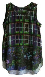 Carven Plaid Top Green and Purple