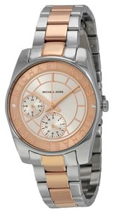 Michael Kors Two Tone Rose Gold and Silver Stainless Steel Ladies Designer Sport Watch