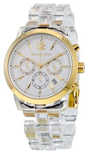 Michael Kors Gold Stainless Steel Case Clear White Acetate Bracelet Designer casual Ladies Watch