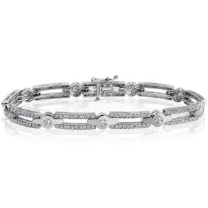 Avital & Co Jewelry 2.50 Carat G-si1 Natural Round Brilliant Cut Diamond Bracelet 14k White Gold