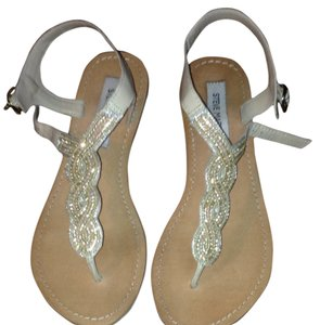 Steve Madden Tan With Pale Pink And Silver Beading Sandals
