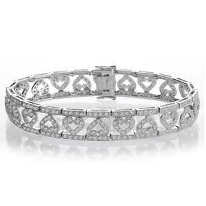 Avital & Co Jewelry 2.50 Carat G-si1 Round Brilliant Cut Diamond Heart Bracelet 14k White Gold