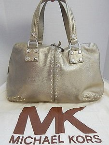 Michael Kors Leather Aster Satchel in Gold