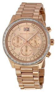 Michael Kors Rose Gold Stainless Steel Crystal Pave Bezel Designer Luxury Watch