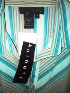 Ninety Shirt Blouse Button Down Shirt Aqua black pinstripe stripes