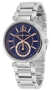Michael Kors Rose Gold and Navy Blue Dial Crystal Pave Silver Stainless Steel Designer Watch