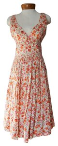 Plenty by Tracy Reese short dress Ivory, Cream, Orange, Pink Cotton Spring Floral Print on Tradesy