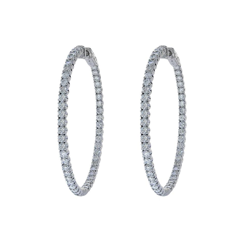 Avital & Co Jewelry 325 Carat Inside Out Diamond Hoop Earrings 14k White  Gold