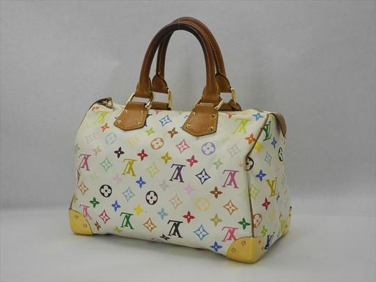 Louis Vuitton Murakami White Leather Speedy Speedy 30 Lv Tote in Mulitcolor