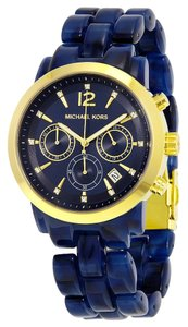 Michael Kors Gold Stainless Steel Casy Blue Acetate Designer Ladies Casual Watch