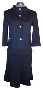 Isabel & Nina Isabel & Nina Navy Blue Jersey Knit 3/4slv Skirt Suit